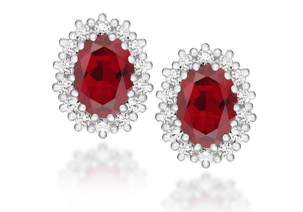 Sterling Silver White Zirconia  and Red Crystal Cluster Oval Stud Earrings
