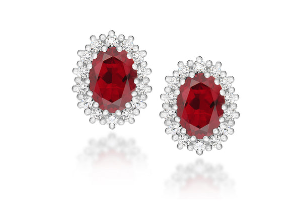 Sterling Silver White Zirconia Cluster and Red Crystal Oval Stud Earrings