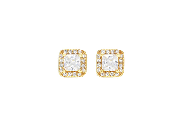 Sterling Silver Yellow Gold Plated Zirconia  Square Stud Earrings
