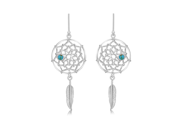 Sterling Silver Turquoise Set ather Drop Earrings