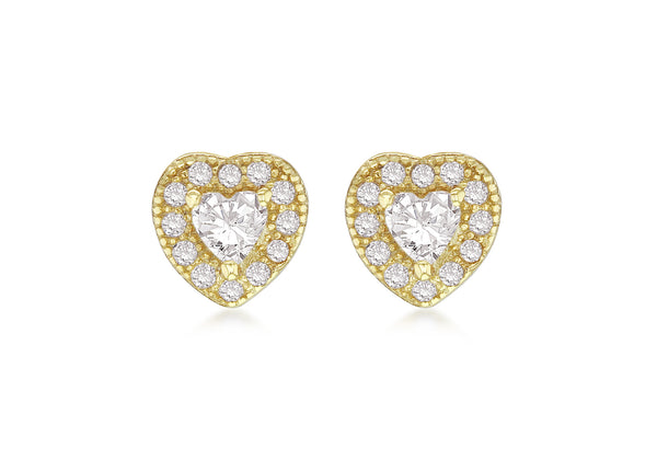 Sterling Silver Yellow Gold Plated Zirconia  Set Heart Stud Earrings