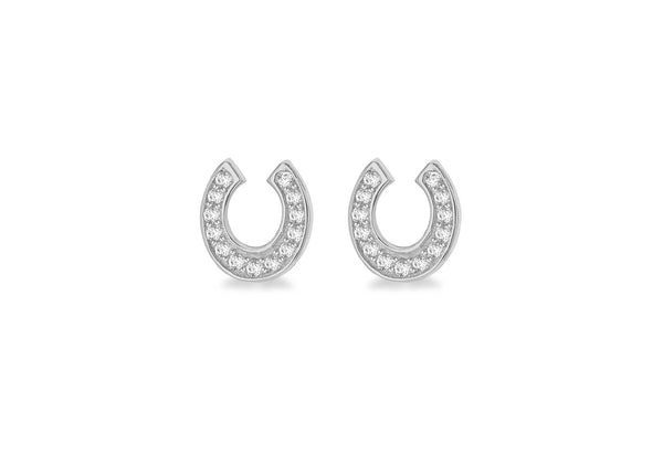 Sterling Silver Rhodium Plated Zirconia  7mm x 7.5mm Horseshoe Stud Earrings