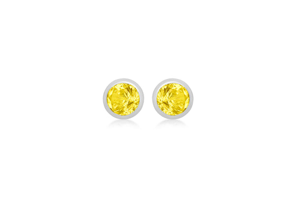 Sterling Silver Yellow Zirconia November Birthstone Stud Earrings