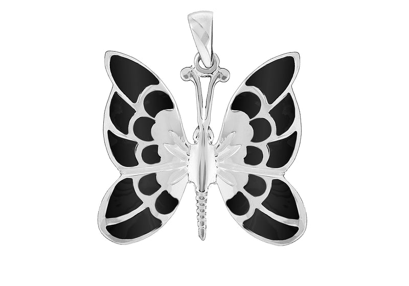 Sterling Silver Black Butterfly Pendant