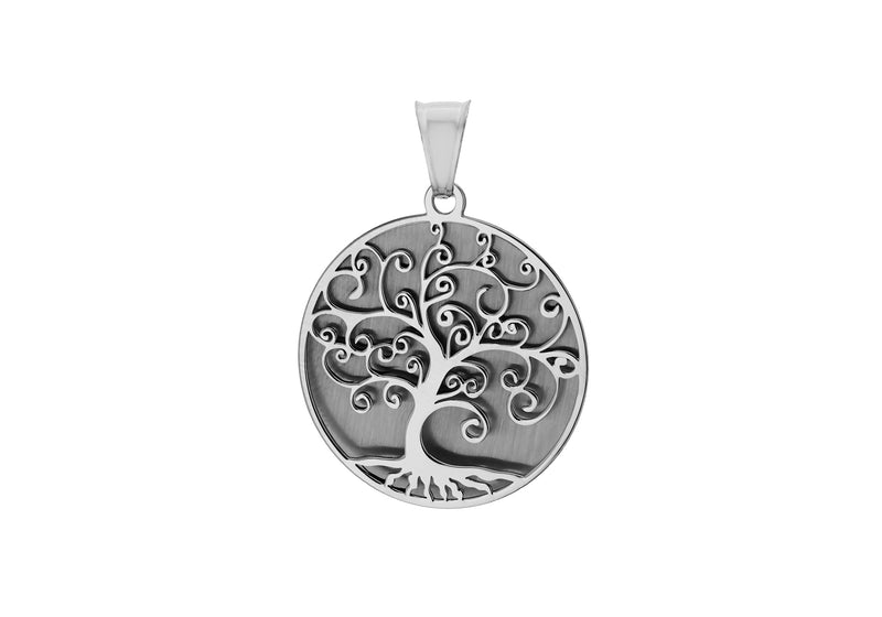 Sterling Silver Rhodium Plated 25mm x 34mm Two-Disc 'Tree of Life' Pendant