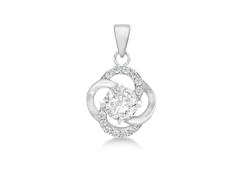 Sterling Silver Rhodium Plated Zirconia  13.4mm x 22.2mm Knot Pendant