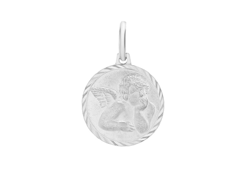 Sterling Silver 12mm Angel Round Medal Pendant