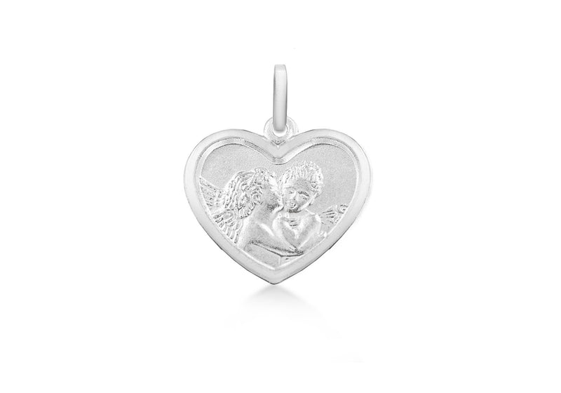 Sterling Silver Kissing Angels Heart Pendant