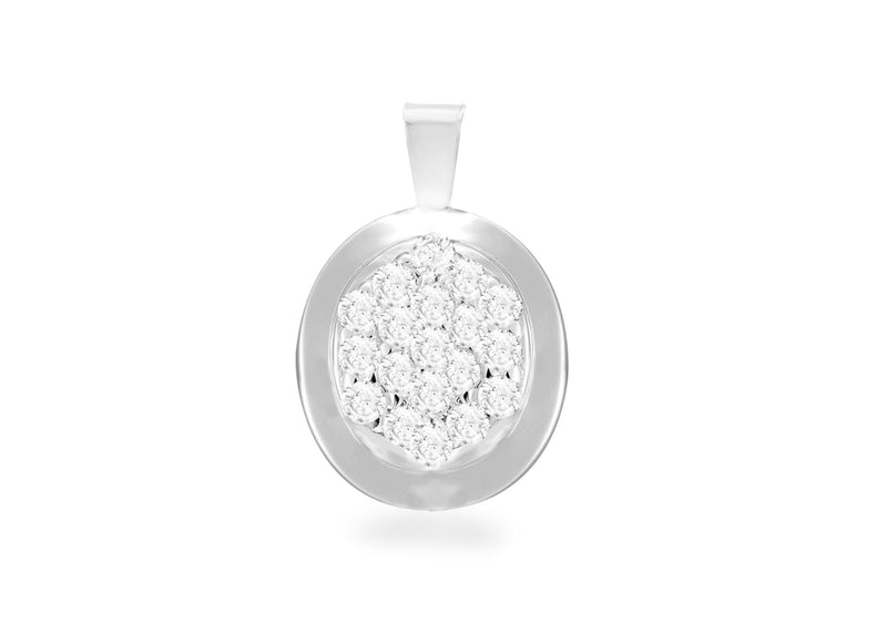Sterling Silver Oval Zirconia  Cluster Pendant