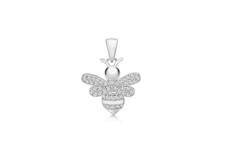 Sterling Silver Rhodium Plated Zirconia  17.7mm x 24mm Bee Pendant
