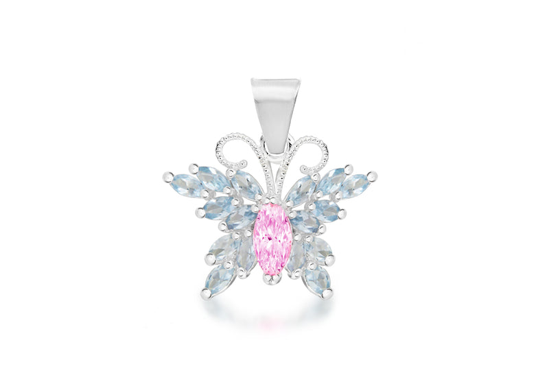 Sterling Silver Pink and Blue Zirconia  Stone Set BCutterfly Pendant