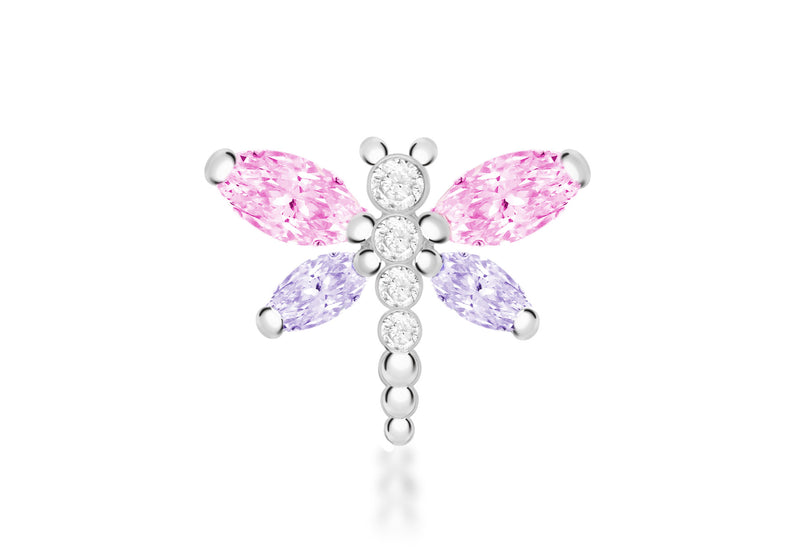 Sterling Silver Pink Purple and White Zirconia  20mm x 15mm Dragonfly Pendant