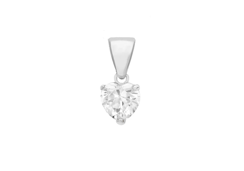 Sterling Silver Zirconia  5mm Heart Pendant