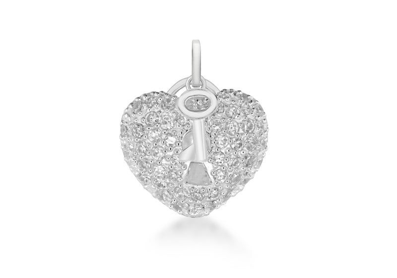 Sterling Silver White Zirconia  Heart Lok and Key Pendant
