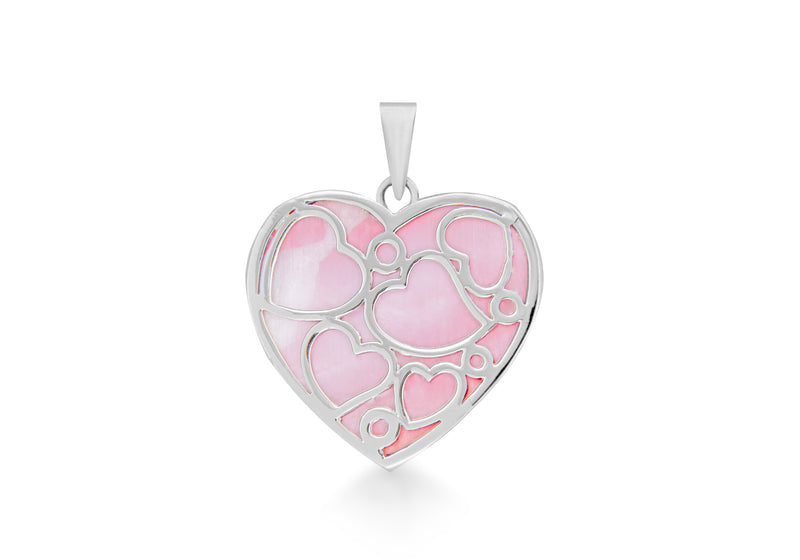 Sterling Silver Large Pink Mother of Pearl Heart Pendant