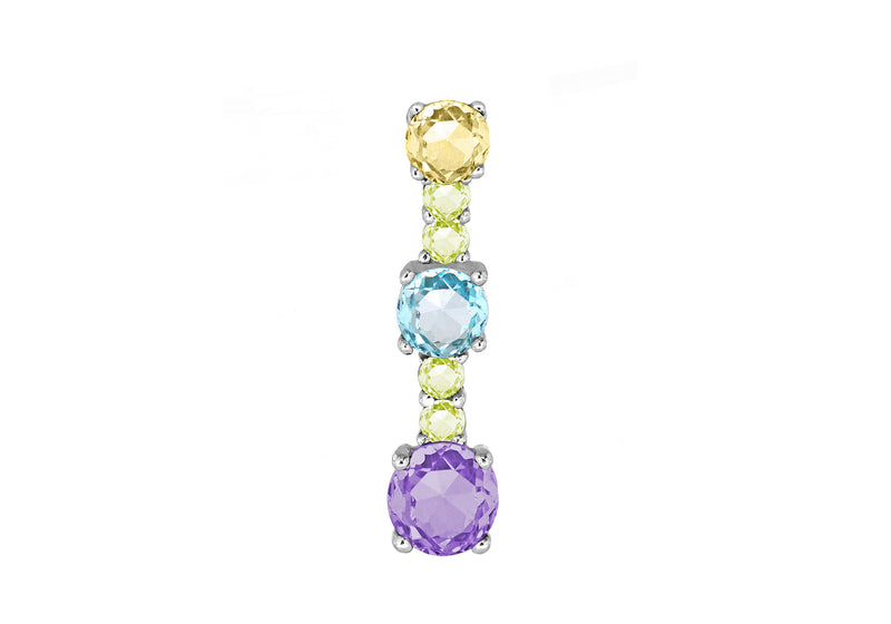 Sterling Silver Multi Colour Zirconia  Drop Pendant