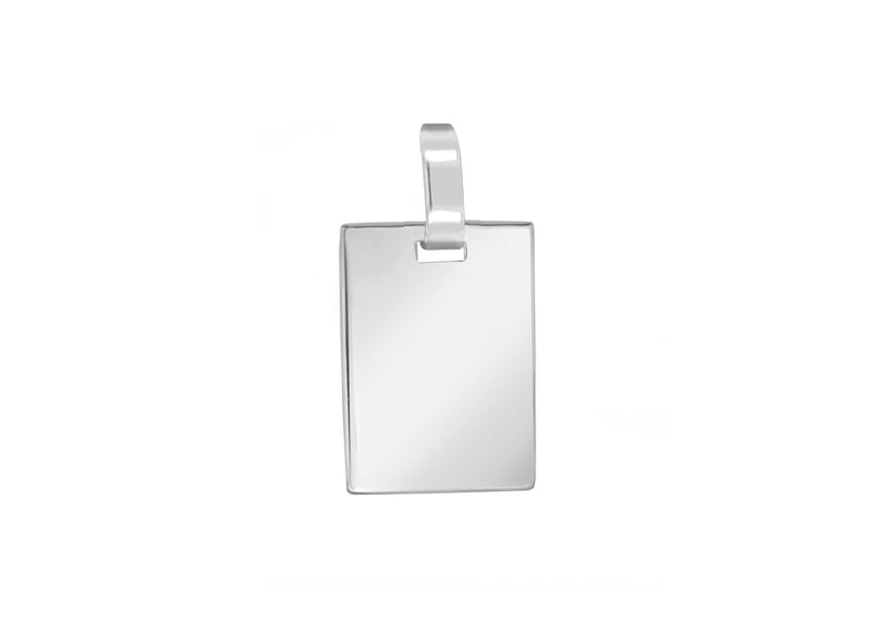 Sterling Silver 19mm x 32mm Flat Retangle Pendant