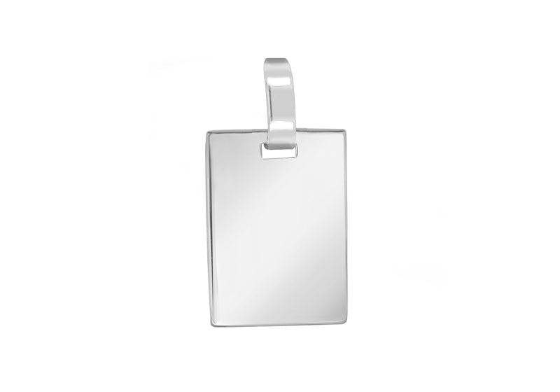 Sterling Silver 24mm x 38mm Flat Retangle Pendant