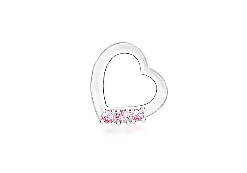 Sterling Silver Pink Zirconia  16mm x 15mm Floating Heart Pendant