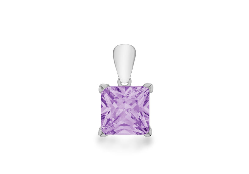 Sterling Silver Purple Princess Cut Zirconia  Pendant