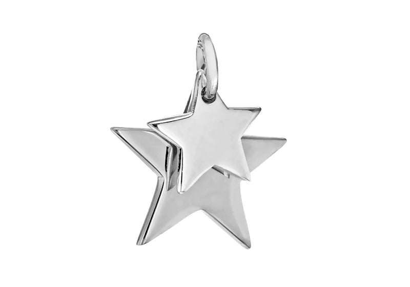 Sterling Silver 14mm x 14mm Double-Star Pendant