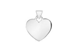 Sterling Silver Large Flat Heart Pendant