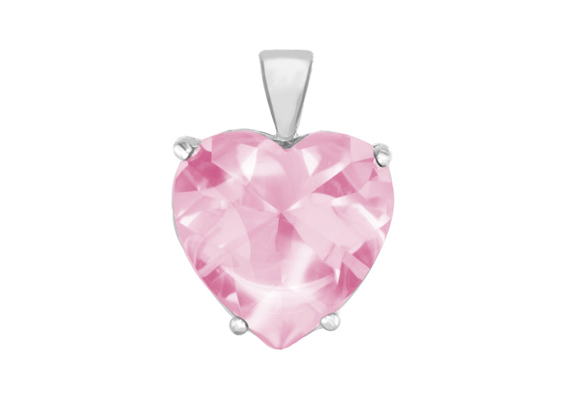 Sterling Silver Large Pink Zirconia  Heart Pendant