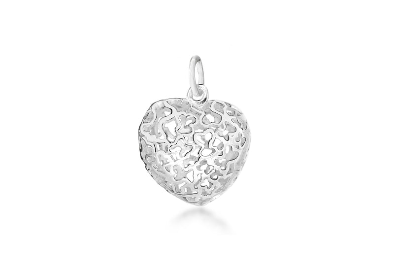 Sterling Silver 19mm x 27mm CutoCut Patterned Puff Heart Pendant
