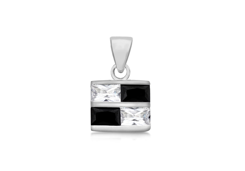 Sterling Silver Black and White Zirconia  Retangle Pendant