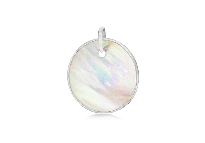 Sterling Silver Small Round Mother of Pearl Pendant