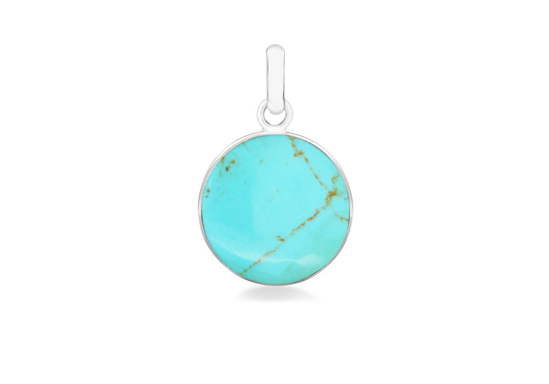 Sterling Silver 22mm x 34mm Round Turquoise Pendant