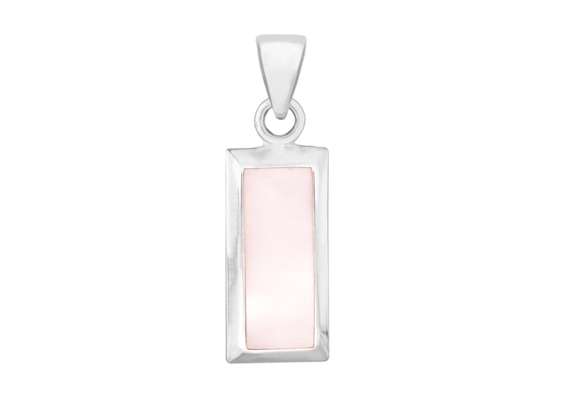 Sterling Silver Pink Mother of Pearl Retangle Pendant