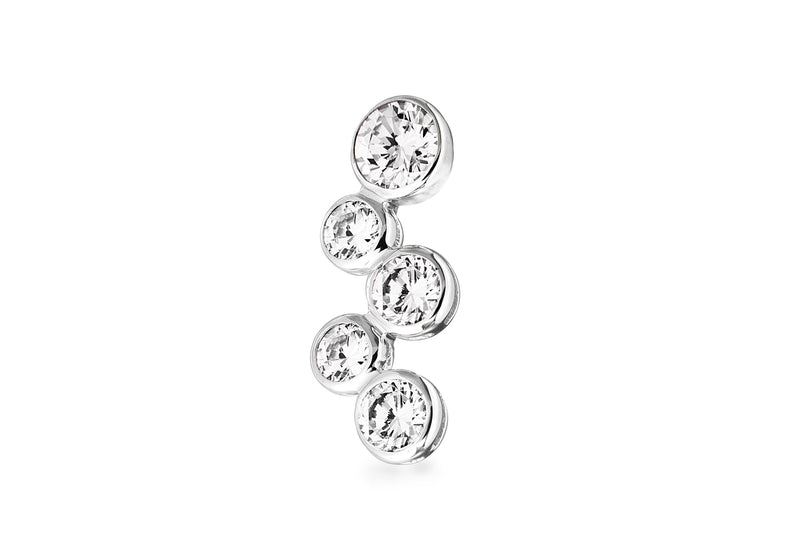 Sterling Silver Five Zirconia  Pendant