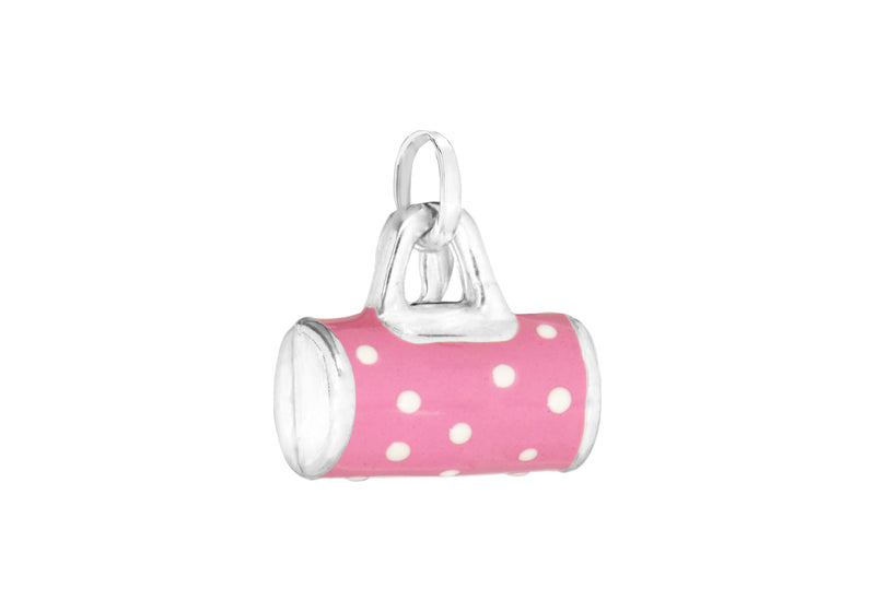 Sterling Silver Pink and White Polkadot Handbag Charm