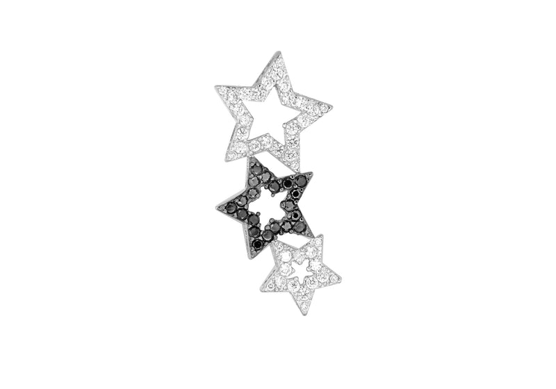 Sterling Silver Zirconia  Triple Star Pendant