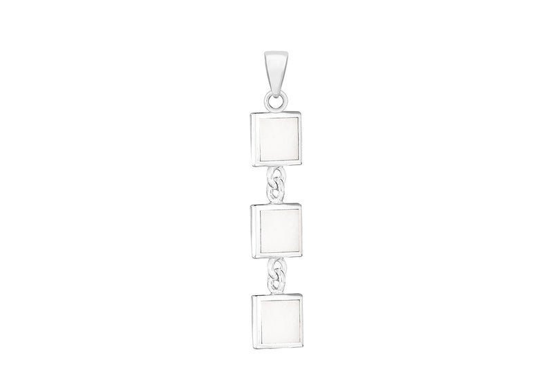 Sterling Silver Mother of Pearl Triple Square Pendant