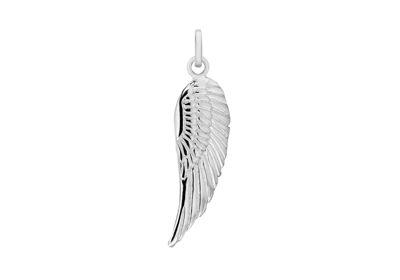 Sterling Silver 10mm x 35mm Angel Wing Pendant
