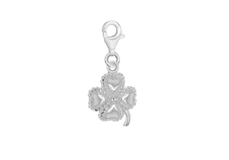 Sterling Silver 'Four Leaf Clover' Lobster-Clasp Charm