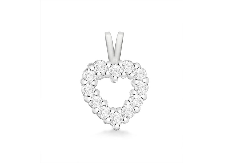 Sterling Silver Zirconia  10mm x 17mm Heart Pendant
