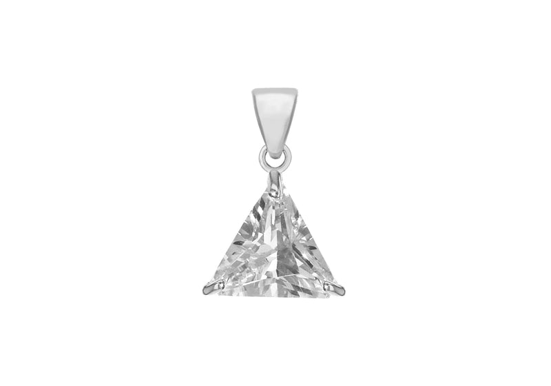 Sterling Silver 11mm x 10.3mm Triangle Zirconia  Pendant
