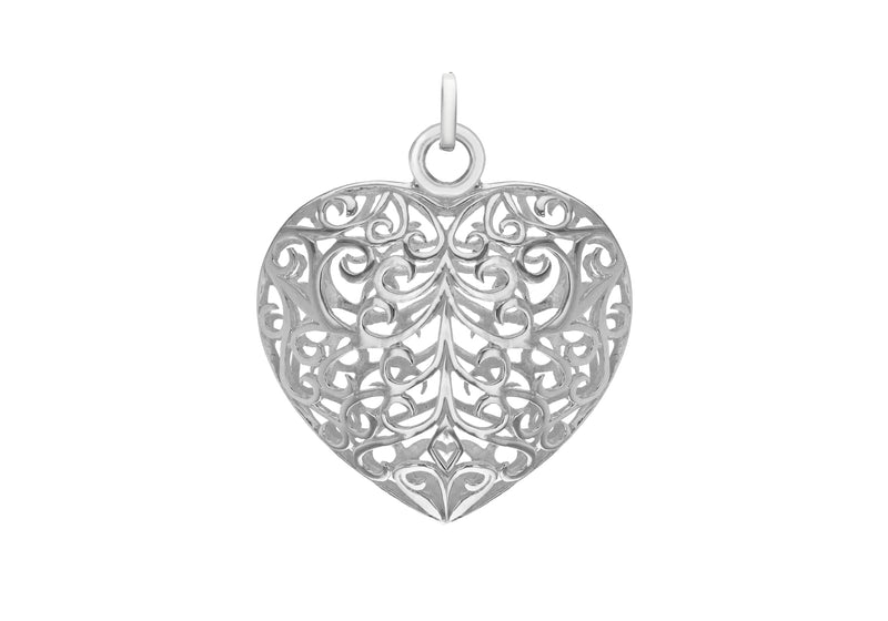 Sterling Silver 32.4mm x 38.8mm CutoCut Puffed Heart Pendant