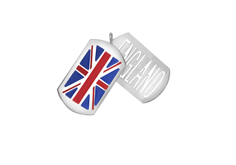 Sterling Silver 21.6mm x 41mm Enamel Union Jack Flag & England CutoCut Double Tag Pendant