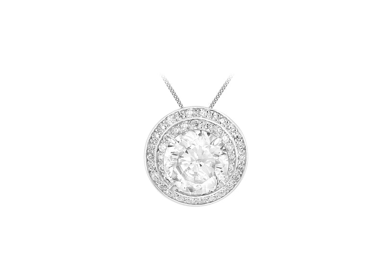 Sterling Silver Zirconia  19mm Round Slider Pendant