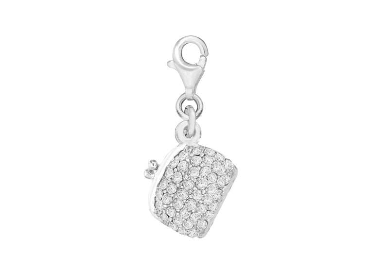 Sterling Silver Crystal Hinged Handbag Lobster-Clasp Charm