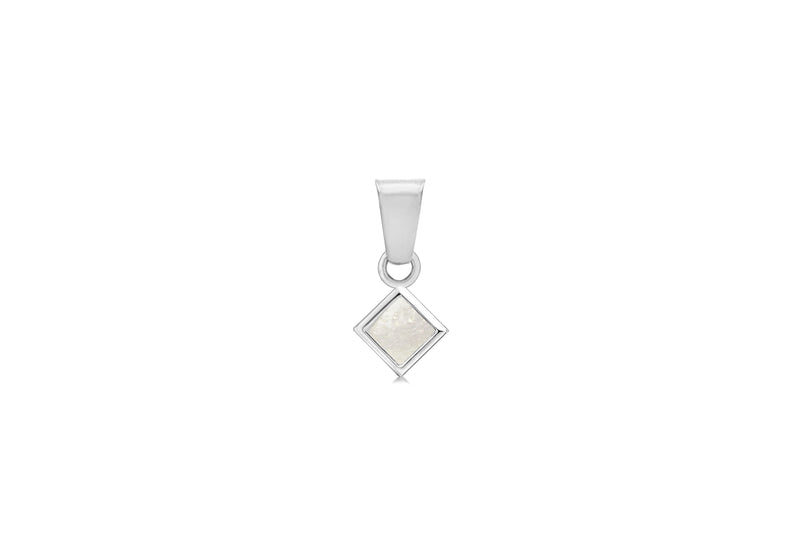 Sterling Silver Mother of Pearl Square Pendant