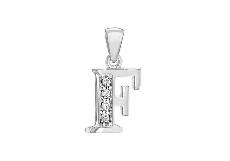 Sterling Silver Zirconia  8.2mm x 17.8mm 'F' Initial Pendant