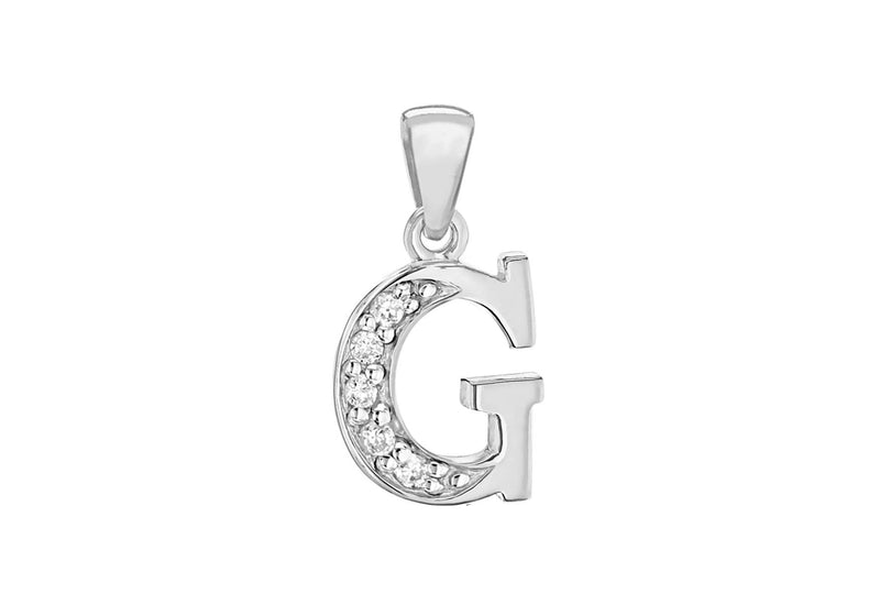 Sterling Silver Zirconia  9.3mm x 18.9mm 'G' Initial Pendant