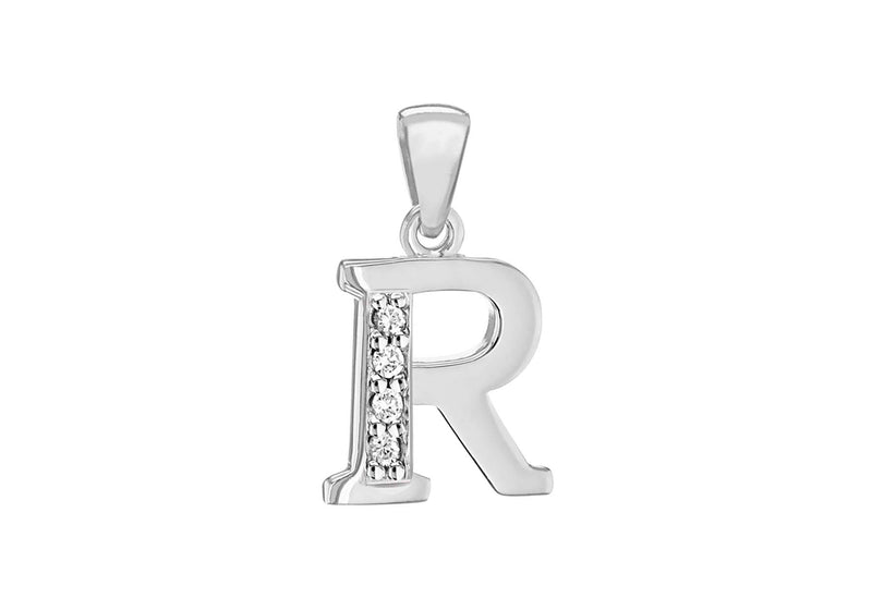 Sterling Silver Zirconia  10mm x 17.5mm 'R' Initial Pendant
