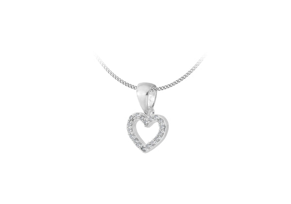 Sterling Silver 0.10ct Diamond Heart Pendant