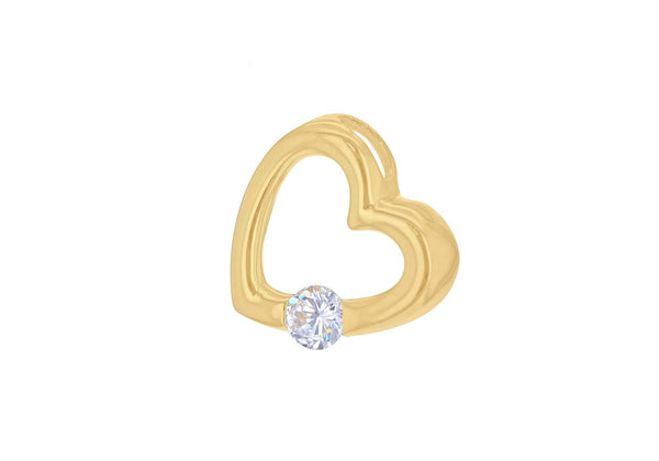 Sterling Silver Yellow Gold Plated Zirconia  Stone Set Floating Heart Pendant